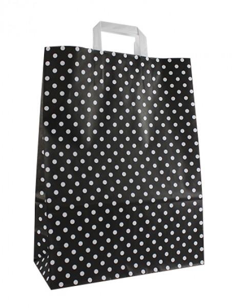 Standard Papiertragetasche 32 + 14 x 42 cm, Punktemotiv in Schwarz