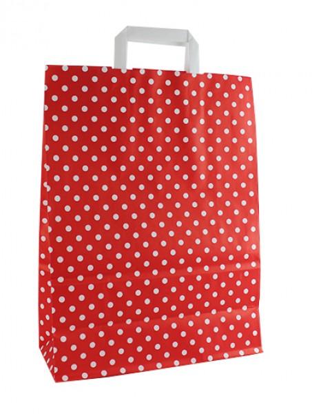 Standard Papiertragetasche 32 + 14 x 42 cm, Punktemotiv in Rot