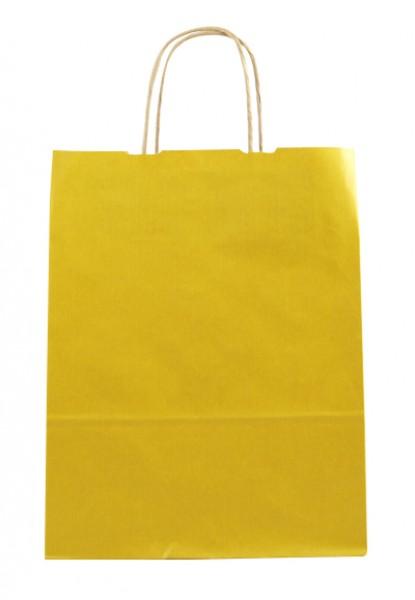 Elegante Papiertragetasche 23 + 10 x 29,5 cm, gelb