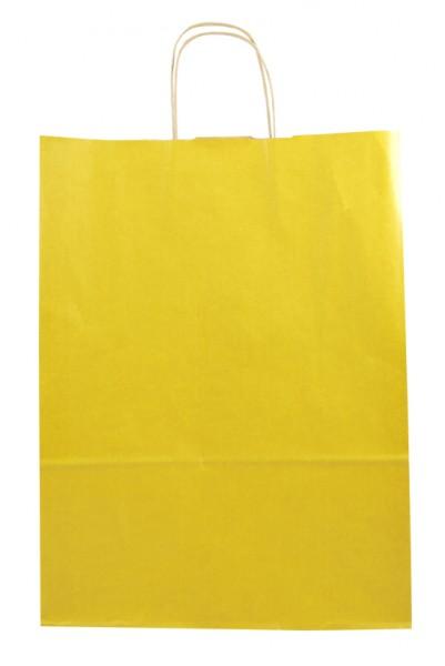 Elegante Papiertragetasche 32 + 14 x 42 cm, gelb