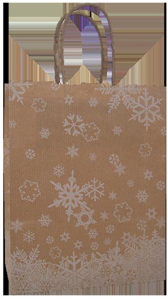 Elegante Papiertragetasche 17 + 07 x 21 cm, Schneekristallmotiv