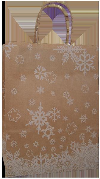 Elegante Papiertragetasche 23 + 10 x 29,5 cm, Schneekristallmotiv