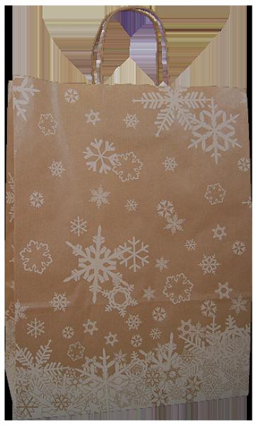 Elegante Papiertragetasche 32 + 14 x 42 cm, Schneekristallmotiv
