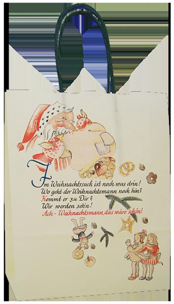 Elegante Papiertragetasche 17 + 07 x 21 cm, Weihnachtspoesiemotiv