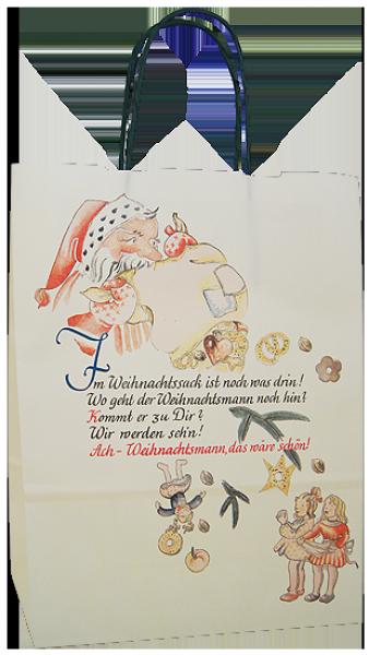Elegante Papiertragetasche 23 + 10 x 29,5 cm, Weihnachtspoesiemotiv