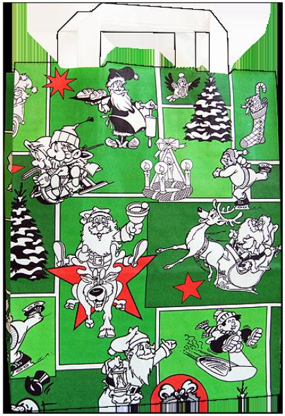 Standard Papiertragetasche 22 + 11 x 28 cm, Weihnachtsmännermotiv