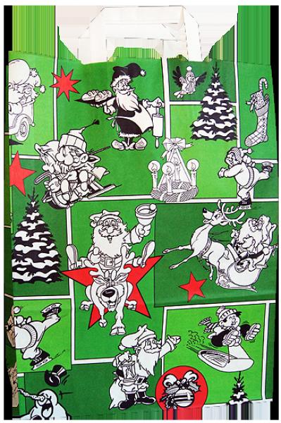 Standard Papiertragetasche 32 + 14 x 42 cm, Weihnachtsmännermotiv