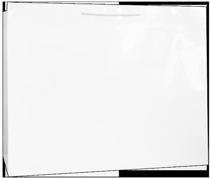 Exklusive Papiertragetasche 54 + 14 x 44,5 cm, weiß