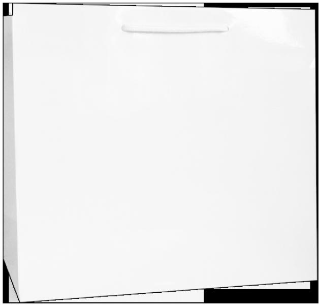 Exklusive Papiertragetasche 38 + 13 x 31 cm, weiß