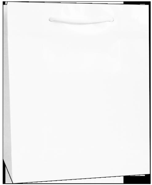 Exklusive Papiertragetasche 22 + 10 x 27,5 cm, weiß