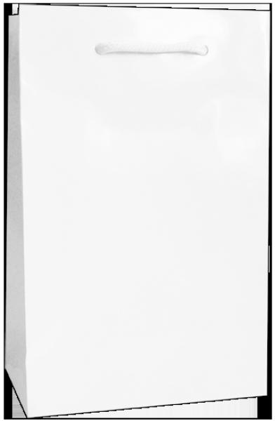 Exklusive Papiertragetasche 16 + 08 x 25 cm, weiß